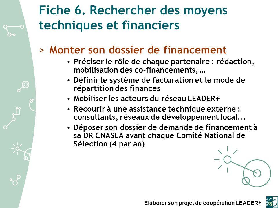 Fiche 6. Rechercher des moyens techniques et financiers