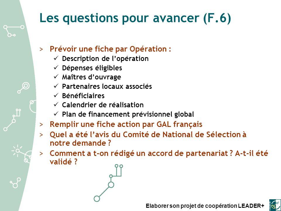 Les questions pour avancer (F.6)