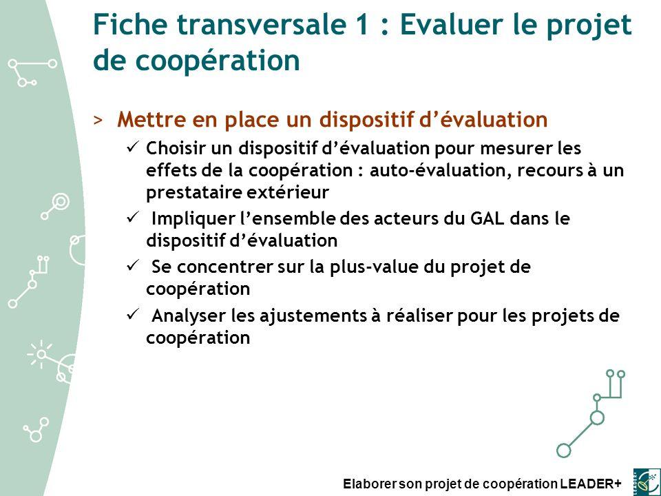 Fiche transversale 1 : Evaluer le projet de coopération