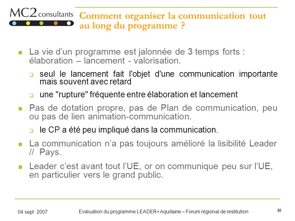 Comment organiser la communication tout au long du programme