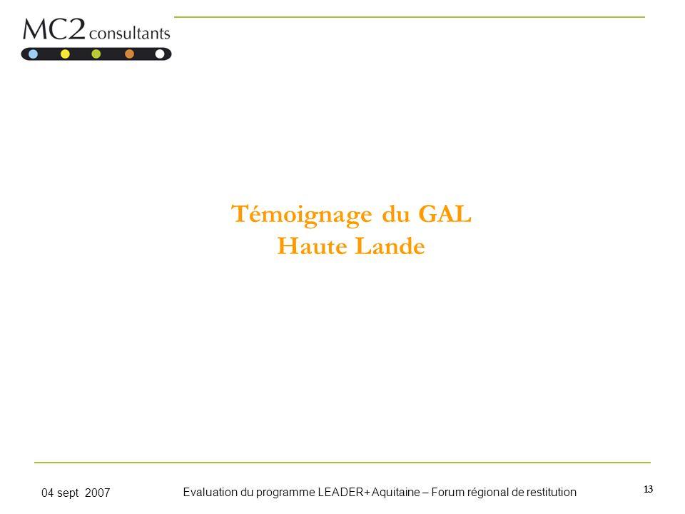 Témoignage du GAL Haute Lande