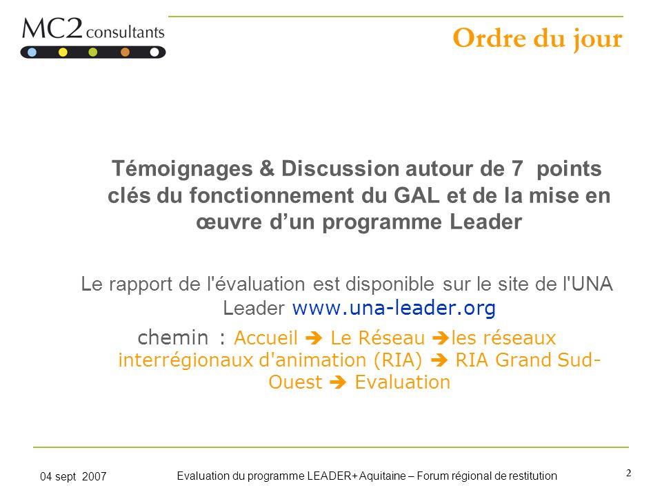 Ordre du jour Témoignages & Discussion autour de 7 points clés du fonctionnement du GAL et de la mise en œuvre d'un programme Leader.