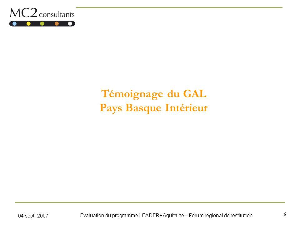 Témoignage du GAL Pays Basque Intérieur