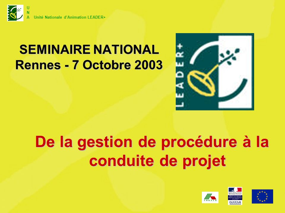 SEMINAIRE NATIONAL Rennes - 7 Octobre 2003