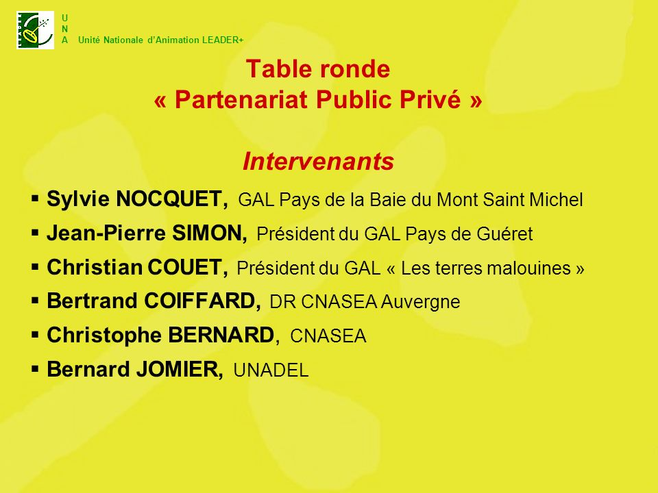 Table ronde « Partenariat Public Privé » Intervenants