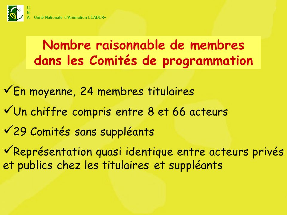 Nombre raisonnable de membres dans les Comités de programmation