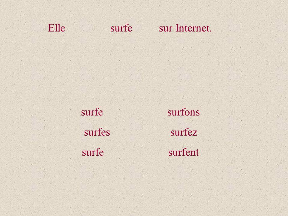 Elle surfe sur Internet. surfe surfons surfes surfez surfe surfent