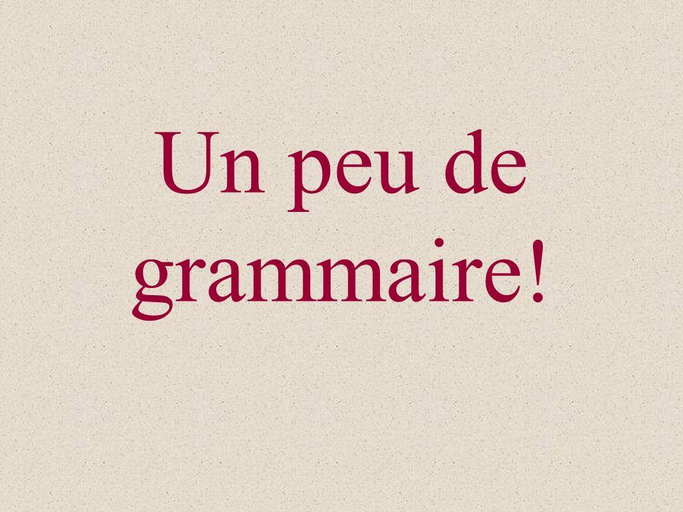 Un peu de grammaire!