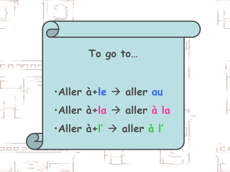 To go to… Aller à+le  aller au Aller à+la  aller à la Aller à+l'  aller à l'