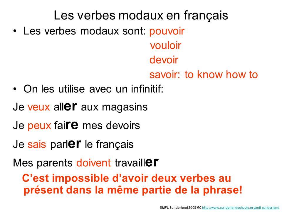 Les verbes modaux en français