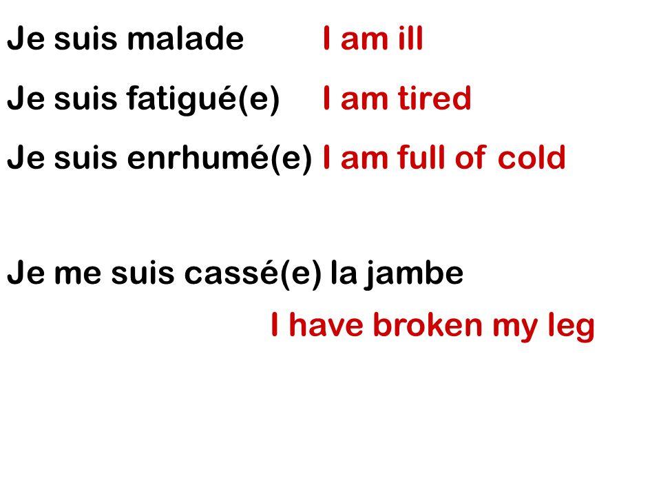 Je suis malade Je suis fatigué(e) Je suis enrhumé(e) I am ill. I am tired. I am full of cold. Je me suis cassé(e) la jambe.