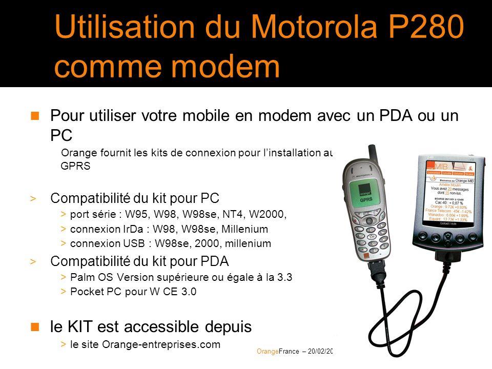 Utilisation du Motorola P280 comme modem