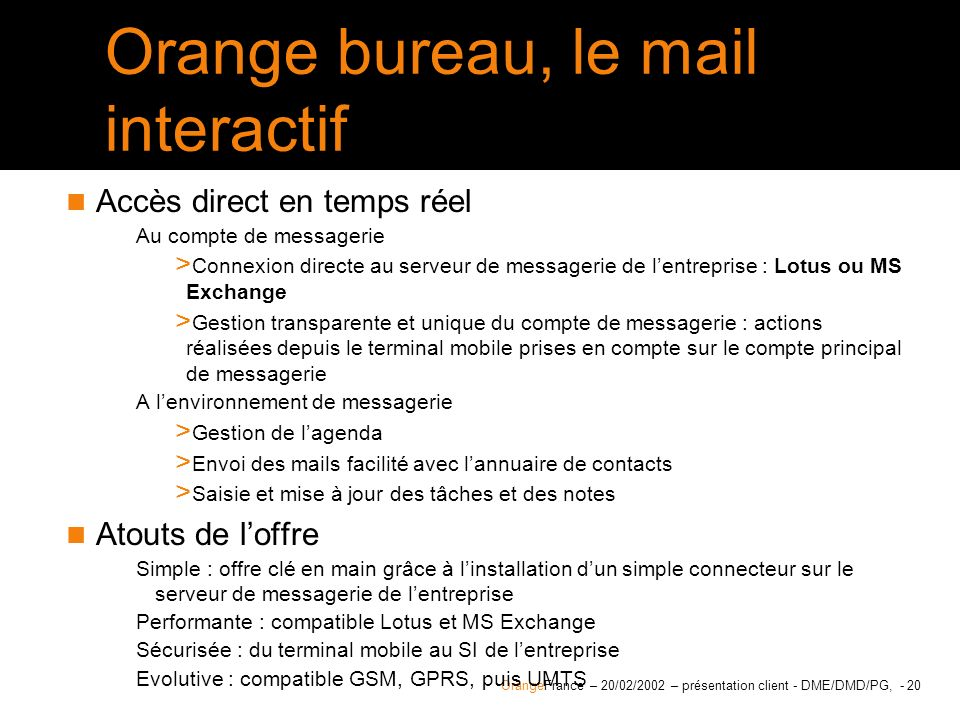 Orange bureau, le mail interactif