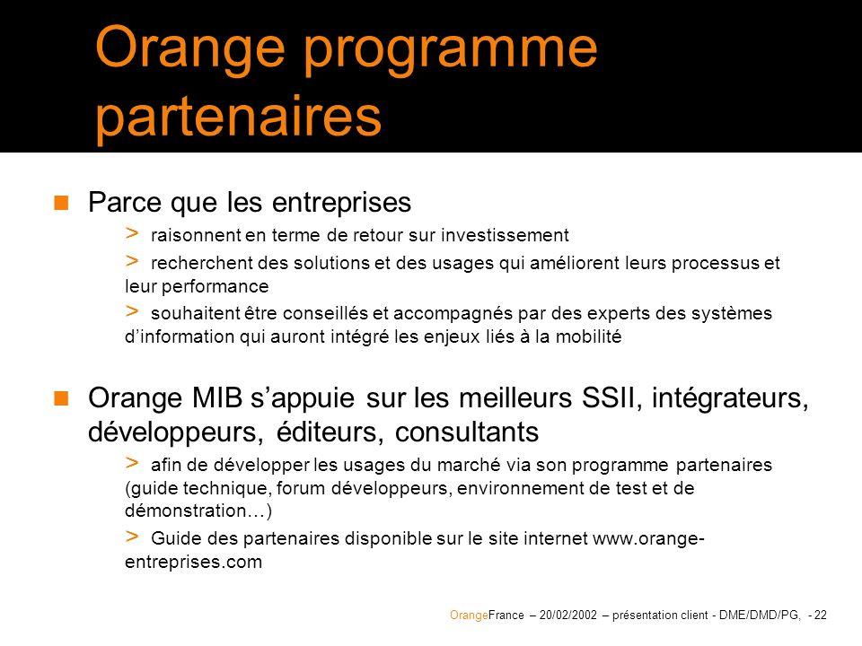 Orange programme partenaires