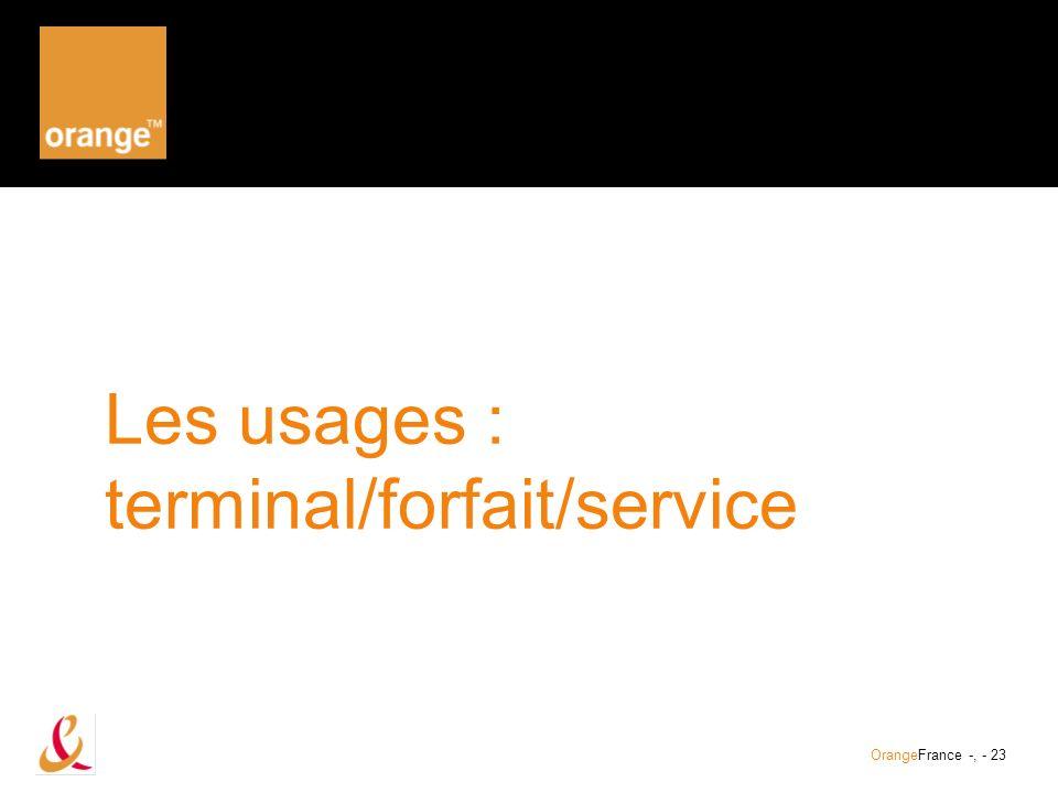 Les usages : terminal/forfait/service
