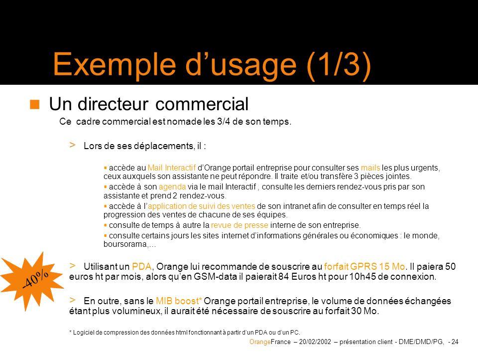 Exemple d'usage (1/3) Un directeur commercial -40%