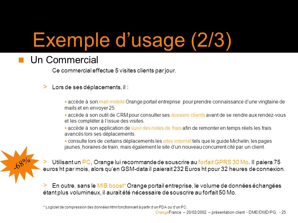 Exemple d'usage (2/3) Un Commercial -68%