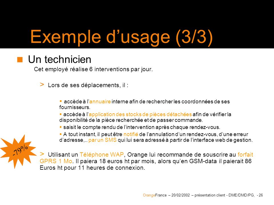 Exemple d'usage (3/3) Un technicien -79%