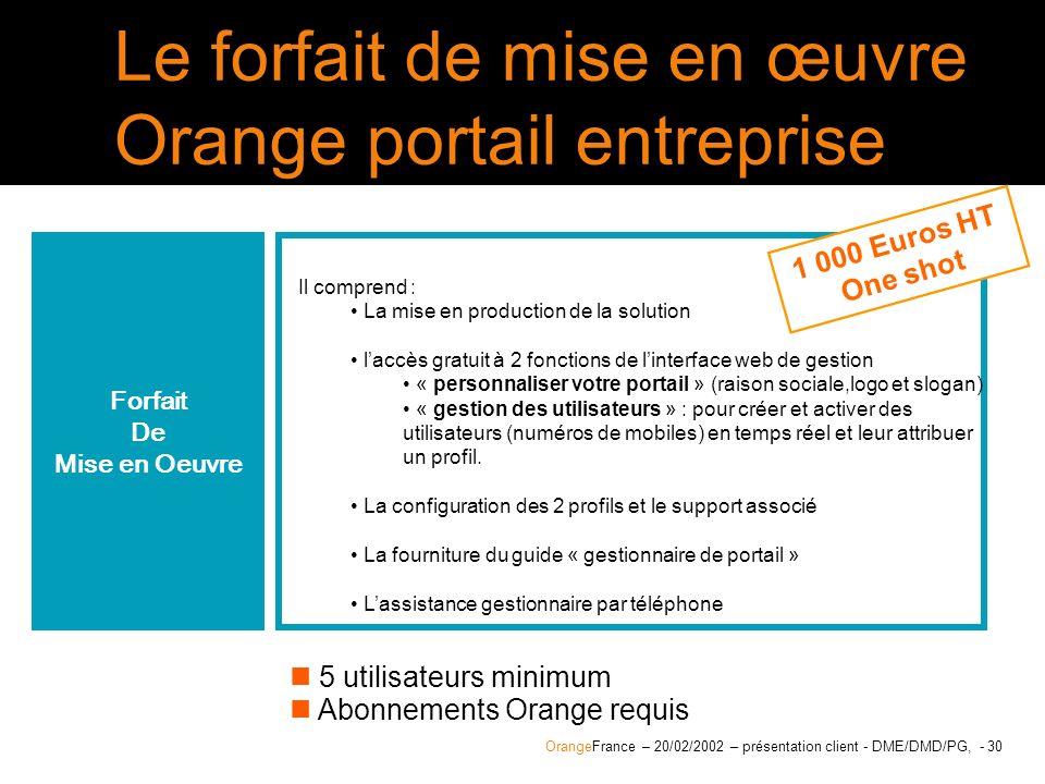 Le forfait de mise en œuvre Orange portail entreprise