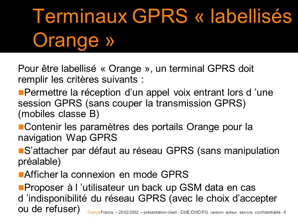 Terminaux GPRS « labellisés Orange »