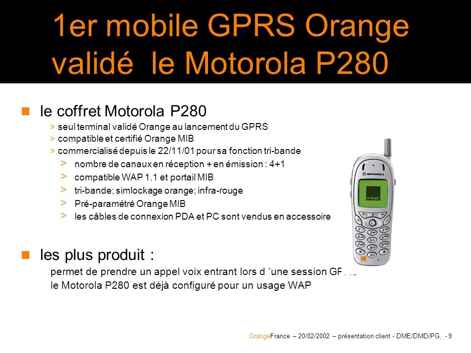 1er mobile GPRS Orange validé le Motorola P280