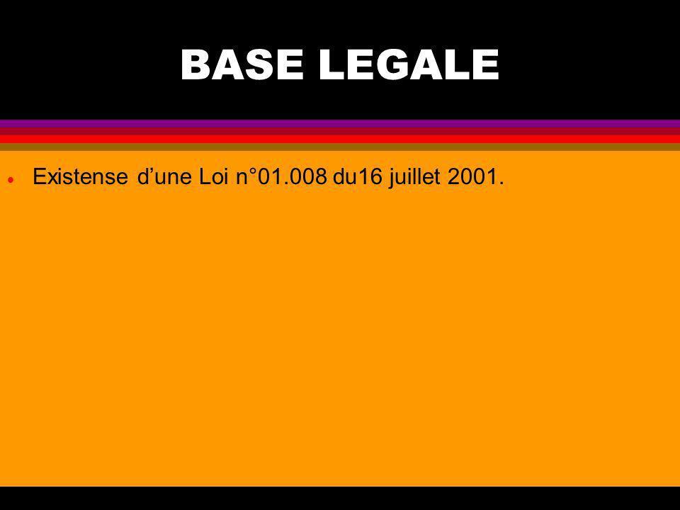 BASE LEGALE Existense d'une Loi n°01.008 du16 juillet 2001.