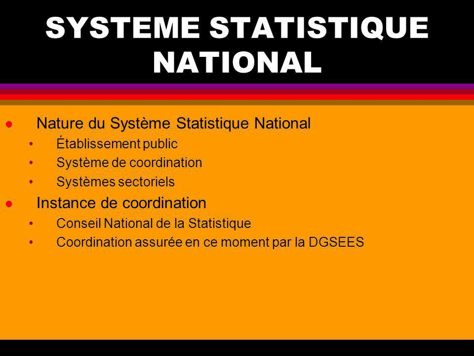 SYSTEME STATISTIQUE NATIONAL