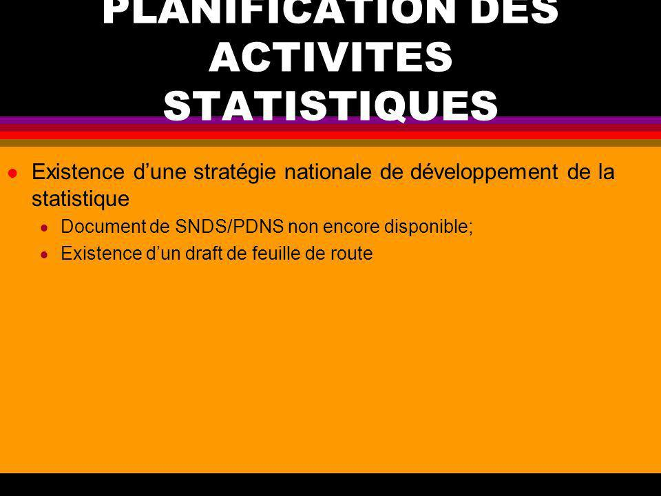 PLANIFICATION DES ACTIVITES STATISTIQUES