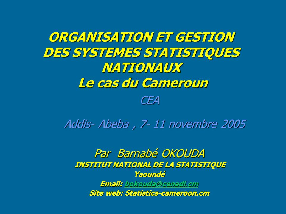 INSTITUT NATIONAL DE LA STATISTIQUE Site web: Statistics-cameroon.cm