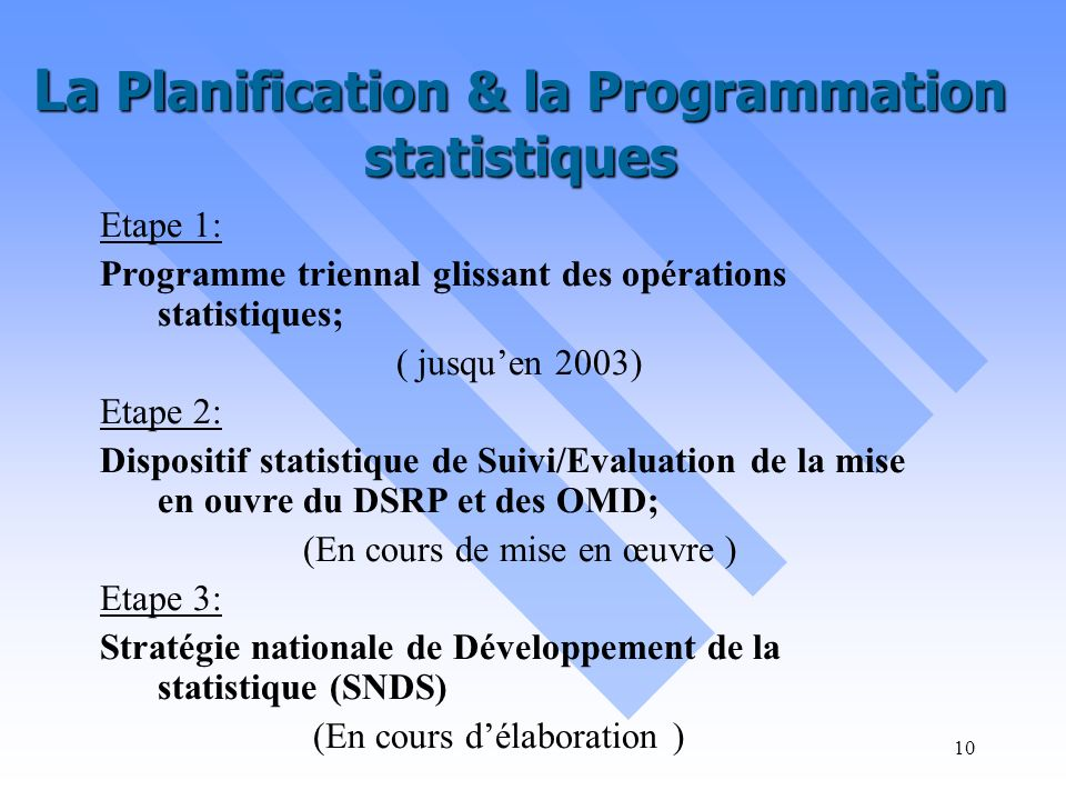 La Planification & la Programmation statistiques