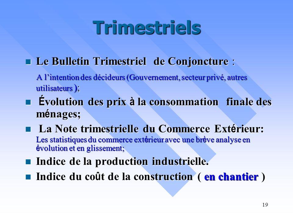 Trimestriels Le Bulletin Trimestriel de Conjoncture :