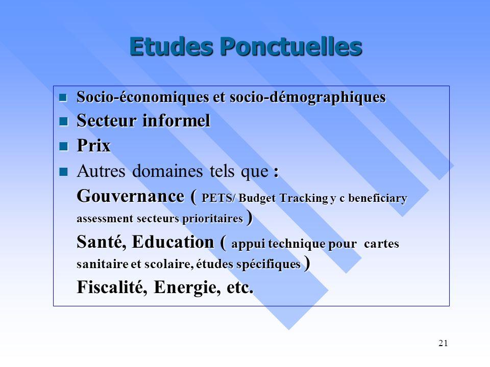 Etudes Ponctuelles Secteur informel Prix Autres domaines tels que :