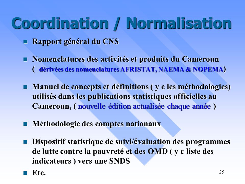 Coordination / Normalisation