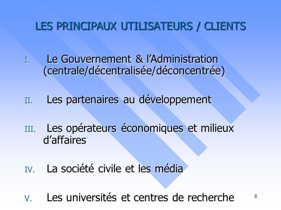 LES PRINCIPAUX UTILISATEURS / CLIENTS