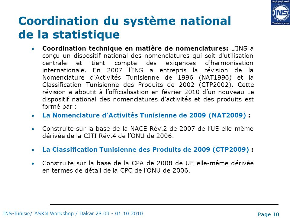 Coordination du système national de la statistique