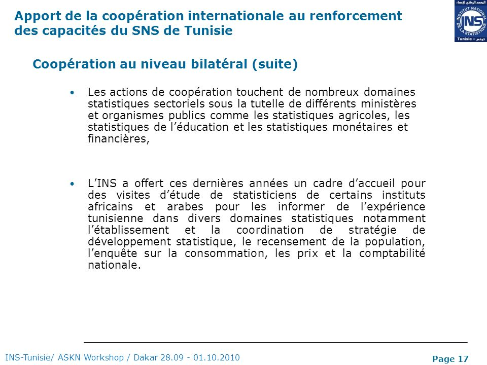 Coopération au niveau bilatéral (suite)