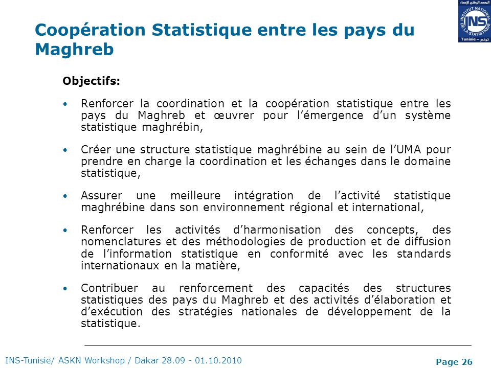 Coopération Statistique entre les pays du Maghreb