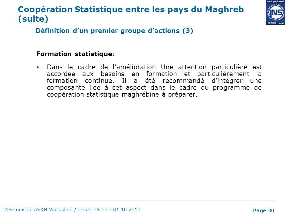 Coopération Statistique entre les pays du Maghreb (suite)