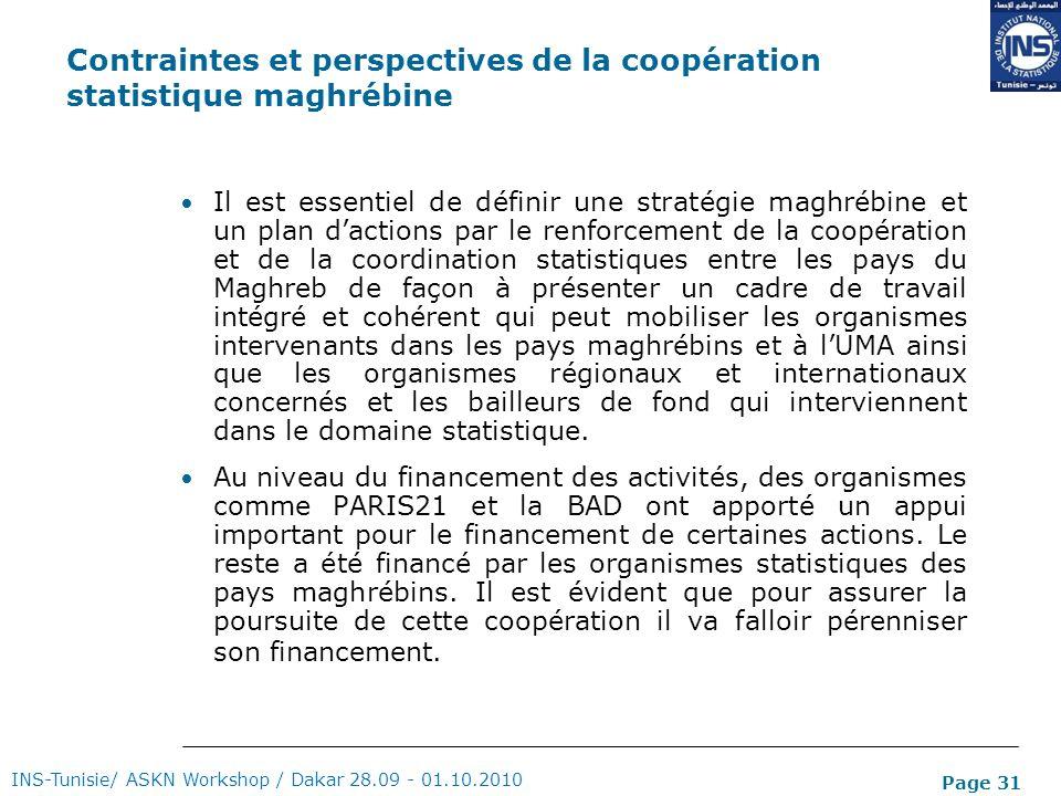 Contraintes et perspectives de la coopération statistique maghrébine