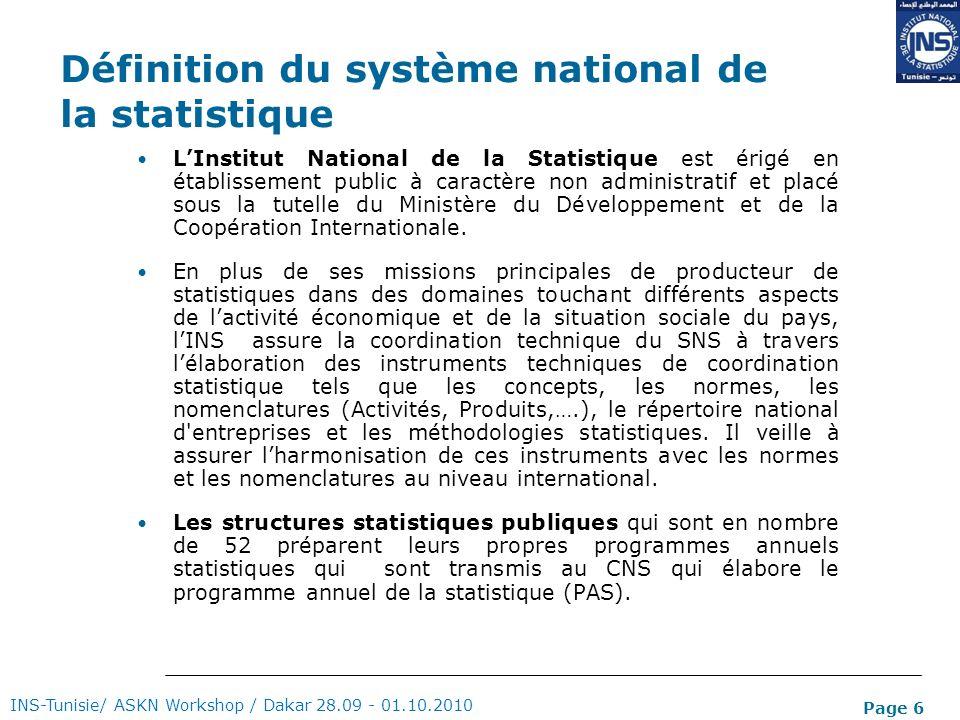 Définition du système national de la statistique