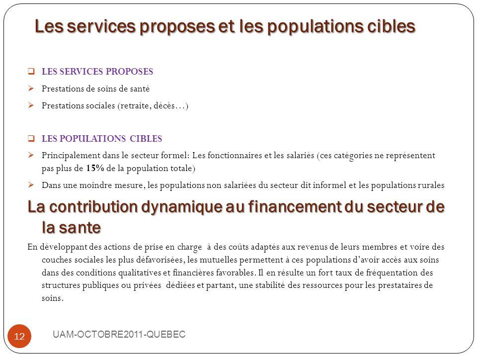 Les services proposes et les populations cibles