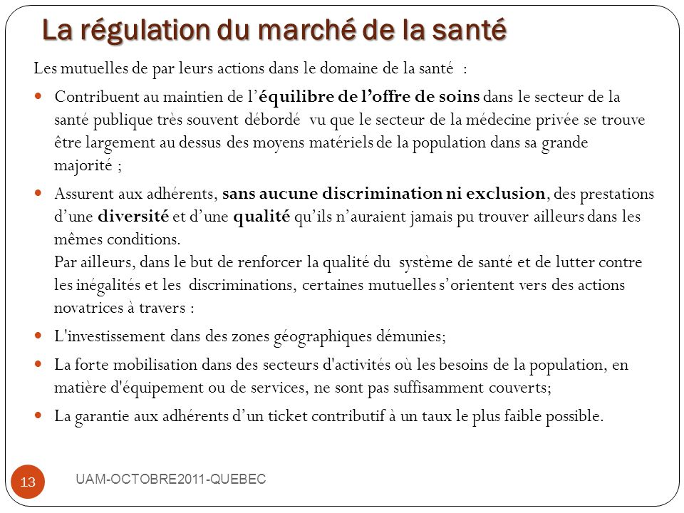 La régulation du marché de la santé