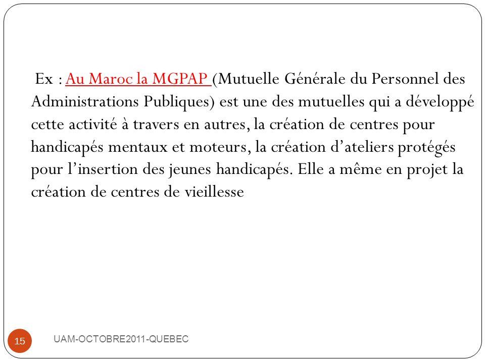 Ex : Au Maroc la MGPAP (Mutuelle Générale du Personnel des Administrations Publiques) est une des mutuelles qui a développé cette activité à travers en autres, la création de centres pour handicapés mentaux et moteurs, la création d'ateliers protégés pour l'insertion des jeunes handicapés. Elle a même en projet la création de centres de vieillesse