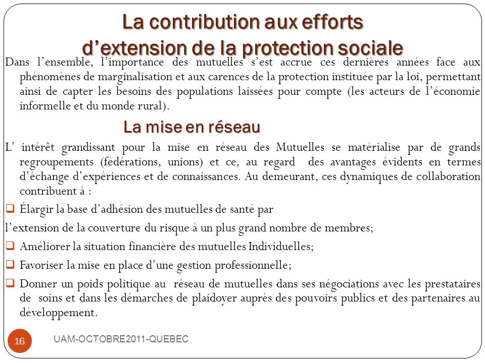 La contribution aux efforts d'extension de la protection sociale