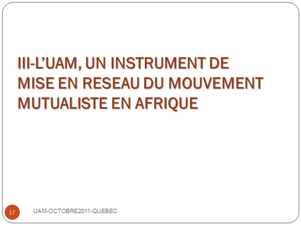 III-L'UAM, UN INSTRUMENT DE MISE EN RESEAU DU MOUVEMENT MUTUALISTE EN AFRIQUE