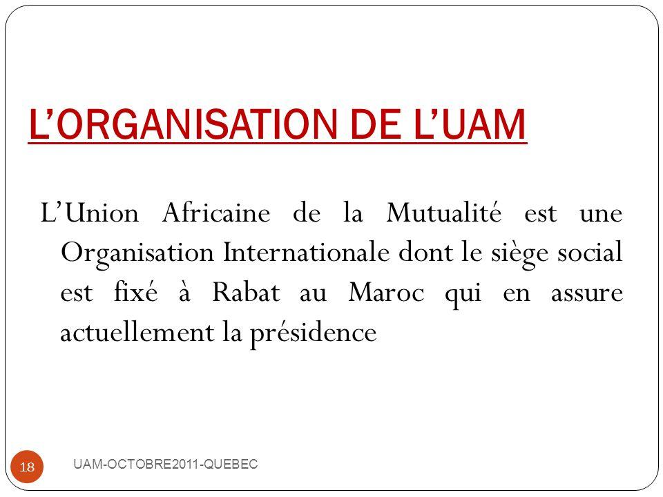 L'ORGANISATION DE L'UAM