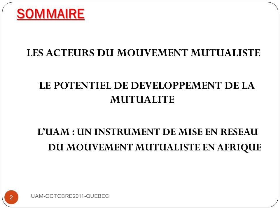 SOMMAIRE LES ACTEURS DU MOUVEMENT MUTUALISTE