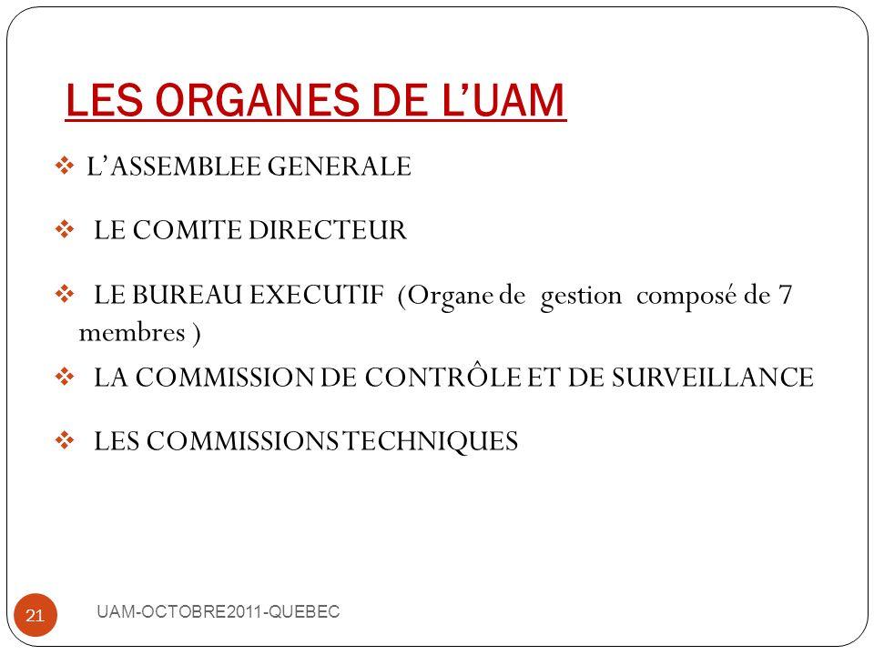 LES ORGANES DE L'UAM L'ASSEMBLEE GENERALE LE COMITE DIRECTEUR