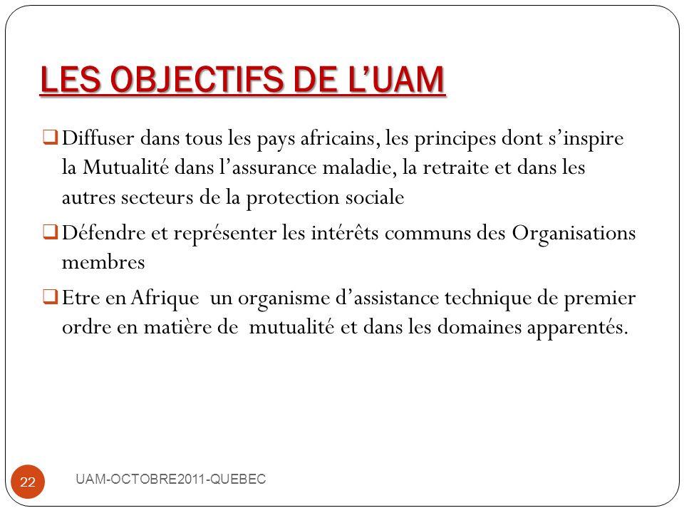 LES OBJECTIFS DE L'UAM