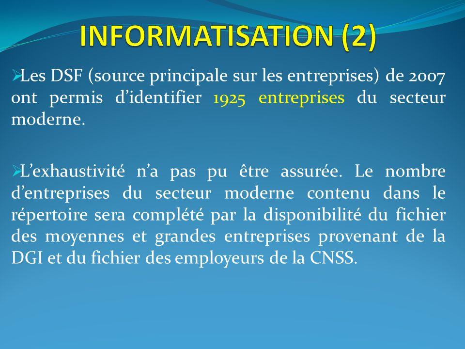 INFORMATISATION (2)Les DSF (source principale sur les entreprises) de 2007 ont permis d'identifier 1925 entreprises du secteur moderne.